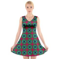 Geometric Patterns V Neck Sleeveless Skater Dress