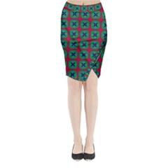 Geometric Patterns Midi Wrap Pencil Skirt