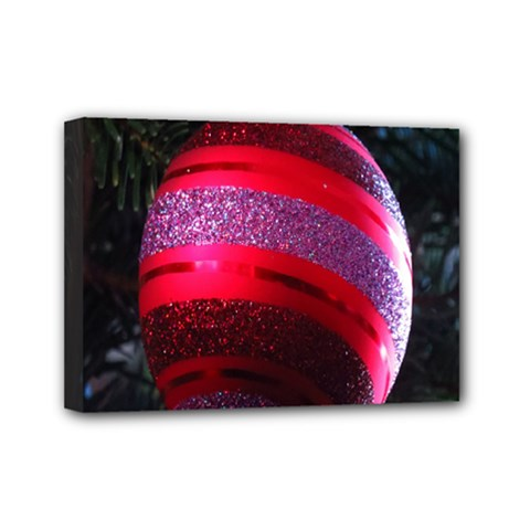 Glass Ball Decorated Beautiful Red Mini Canvas 7  x 5