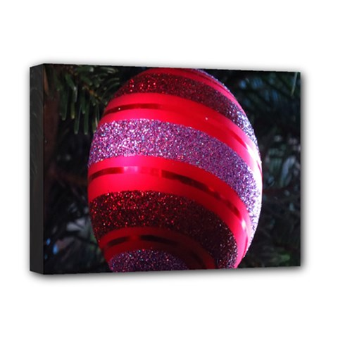 Glass Ball Decorated Beautiful Red Deluxe Canvas 16  x 12