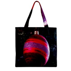 Glass Ball Decorated Beautiful Red Zipper Grocery Tote Bag