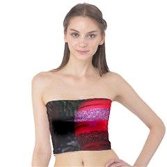 Glass Ball Decorated Beautiful Red Tube Top