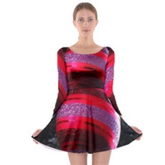 Glass Ball Decorated Beautiful Red Long Sleeve Skater Dress
