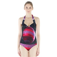Glass Ball Decorated Beautiful Red Halter Swimsuit
