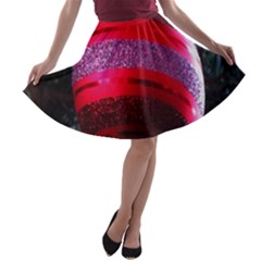 Glass Ball Decorated Beautiful Red A Line Skater Skirt