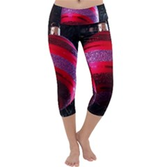 Glass Ball Decorated Beautiful Red Capri Yoga Leggings