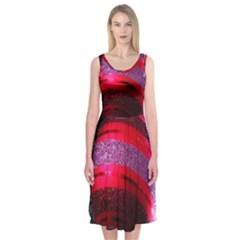 Glass Ball Decorated Beautiful Red Midi Sleeveless Dress