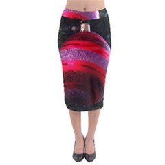 Glass Ball Decorated Beautiful Red Midi Pencil Skirt