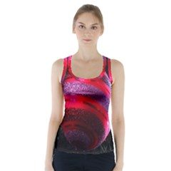 Glass Ball Decorated Beautiful Red Racer Back Sports Top