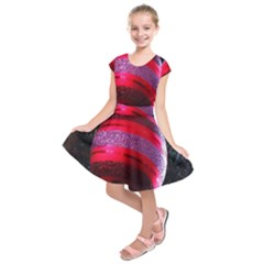 Glass Ball Decorated Beautiful Red Kids  Short Sleeve Dress