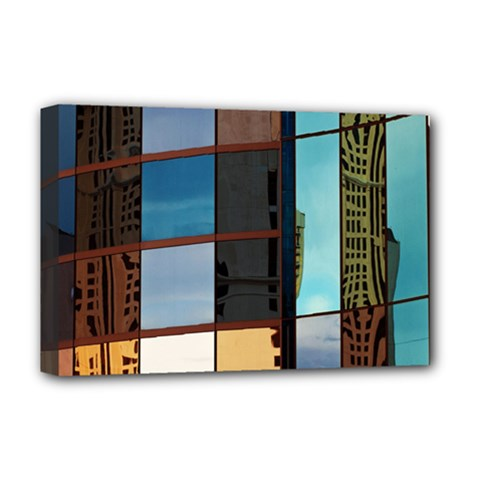 Glass Facade Colorful Architecture Deluxe Canvas 18  x 12
