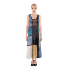 Glass Facade Colorful Architecture Sleeveless Maxi Dress
