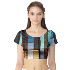 Glass Facade Colorful Architecture Short Sleeve Crop Top (tight Fit)