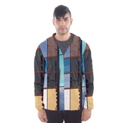 Glass Facade Colorful Architecture Hooded Wind Breaker (Men)