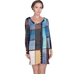 Glass Facade Colorful Architecture Long Sleeve Nightdress