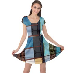 Glass Facade Colorful Architecture Cap Sleeve Dresses