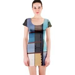 Glass Facade Colorful Architecture Short Sleeve Bodycon Dress