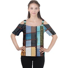 Glass Facade Colorful Architecture Women s Cutout Shoulder Tee