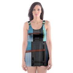 Glass Facade Colorful Architecture Skater Dress Swimsuit