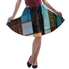 Glass Facade Colorful Architecture A Line Skater Skirt