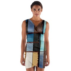 Glass Facade Colorful Architecture Wrap Front Bodycon Dress