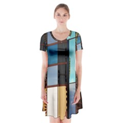 Glass Facade Colorful Architecture Short Sleeve V-neck Flare Dress