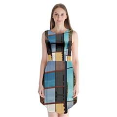 Glass Facade Colorful Architecture Sleeveless Chiffon Dress