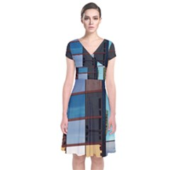Glass Facade Colorful Architecture Short Sleeve Front Wrap Dress
