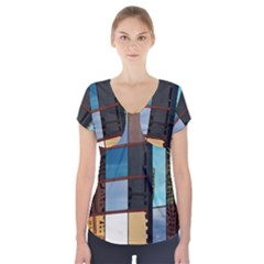Glass Facade Colorful Architecture Short Sleeve Front Detail Top