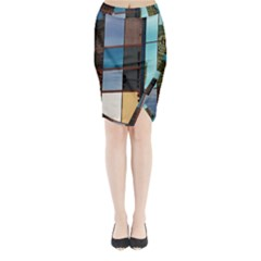 Glass Facade Colorful Architecture Midi Wrap Pencil Skirt