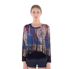 Full Moon Forest Night Darkness Women s Long Sleeve Tee