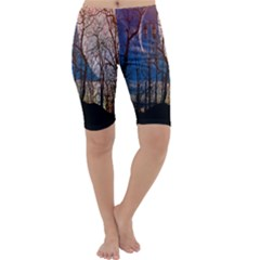 Full Moon Forest Night Darkness Cropped Leggings