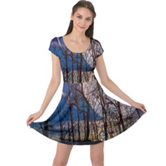 Full Moon Forest Night Darkness Cap Sleeve Dresses