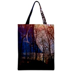 Full Moon Forest Night Darkness Zipper Classic Tote Bag