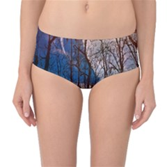 Full Moon Forest Night Darkness Mid Waist Bikini Bottoms