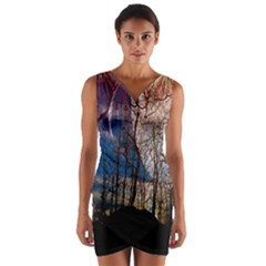 Full Moon Forest Night Darkness Wrap Front Bodycon Dress