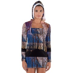 Full Moon Forest Night Darkness Women s Long Sleeve Hooded T-shirt