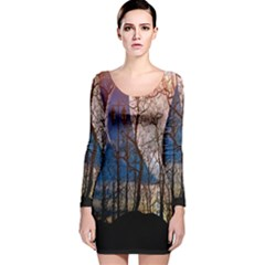 Full Moon Forest Night Darkness Long Sleeve Velvet Bodycon Dress