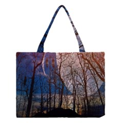 Full Moon Forest Night Darkness Medium Tote Bag
