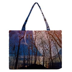 Full Moon Forest Night Darkness Medium Zipper Tote Bag