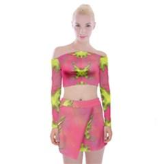 Golde butterfly splatter Off Shoulder Top with Skirt Set