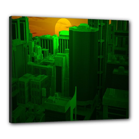 Green Building City Night Canvas 24  x 20