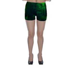Green Building City Night Skinny Shorts