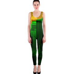 Green Building City Night Onepiece Catsuit