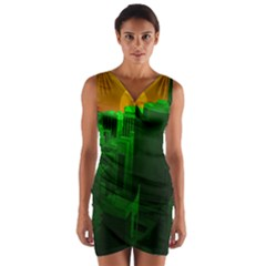 Green Building City Night Wrap Front Bodycon Dress