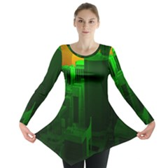 Green Building City Night Long Sleeve Tunic