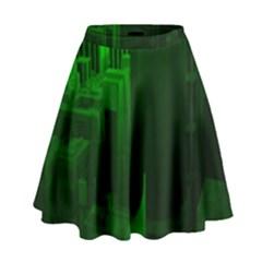 Green Building City Night High Waist Skirt