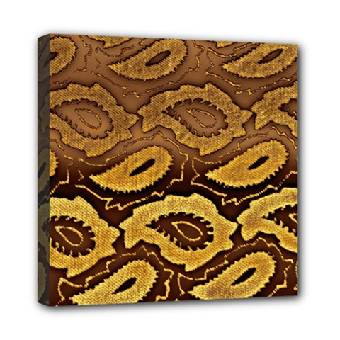 Golden Patterned Paper Mini Canvas 8  x 8