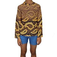 Golden Patterned Paper Kids  Long Sleeve Swimwear