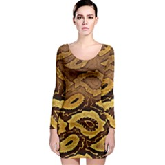 Golden Patterned Paper Long Sleeve Bodycon Dress